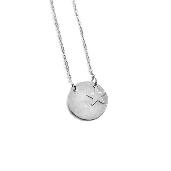 925 Sterling Silver Coin Engraved Name Necklace With Star Nameplate Necklace - onlyone