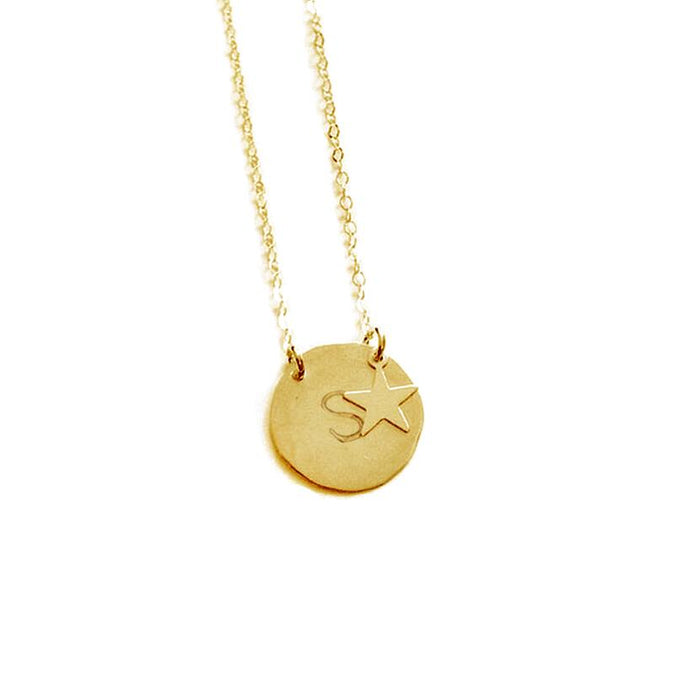 Coin Engraved Name Necklace-Engraved Necklaces-YAFEINI-Gold Plated-Star-yafeini-personalized-custom-jewelry