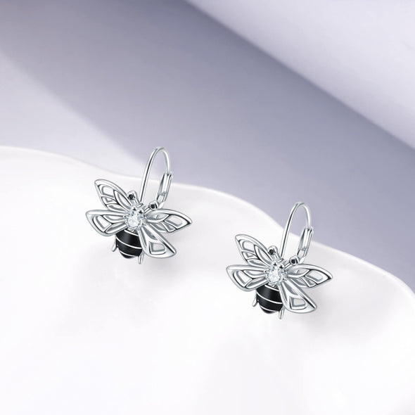 925 Sterling Silver Sticky Little Honeybee Earrings - onlyone