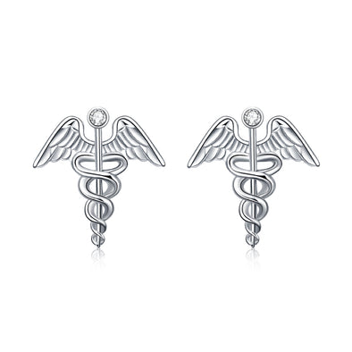 925 Sterling Silver Caduceus Angel Nurse Earrings Sterling Silver Medical Symbol Studs with Crystal - onlyone