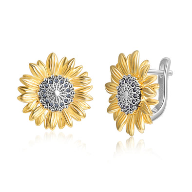 925 Sterling Silver Sunflower Earrings - onlyone