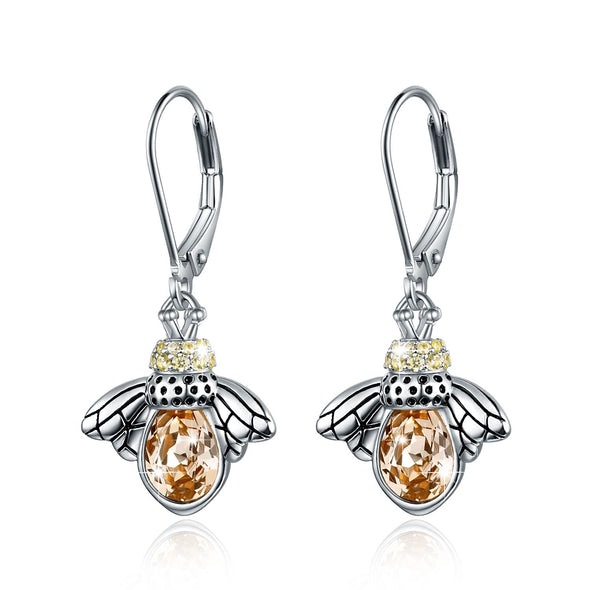 925 sterling silver bee gift fashion earrings - onlyone