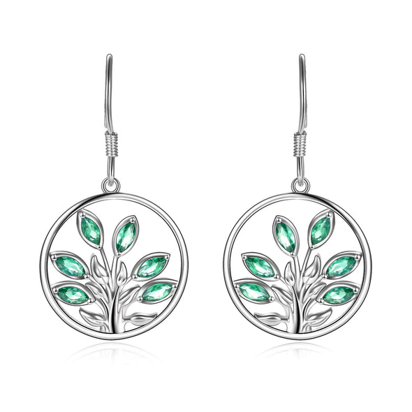 925 Sterling Silver Tree Of Life Earrings With Crystal Leaves - onlyone