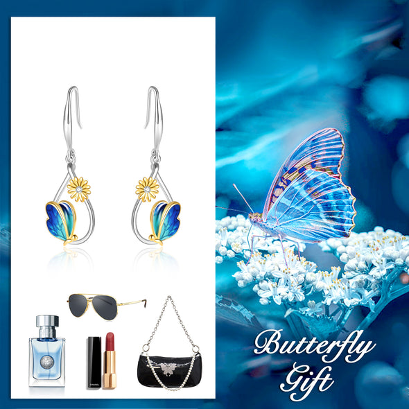 925 Sterling Silver Butterfly And Daisy Stud Earrings - onlyone