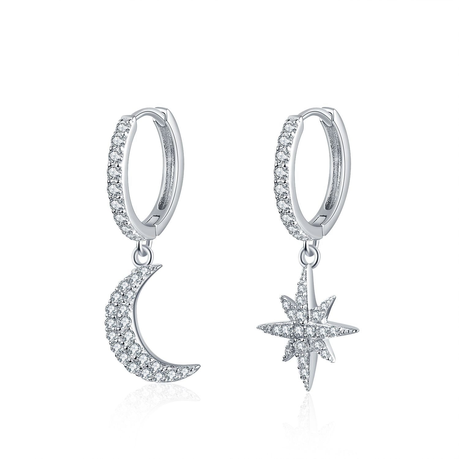 925 sterling silver moon and stars fashion earrings - onlyone