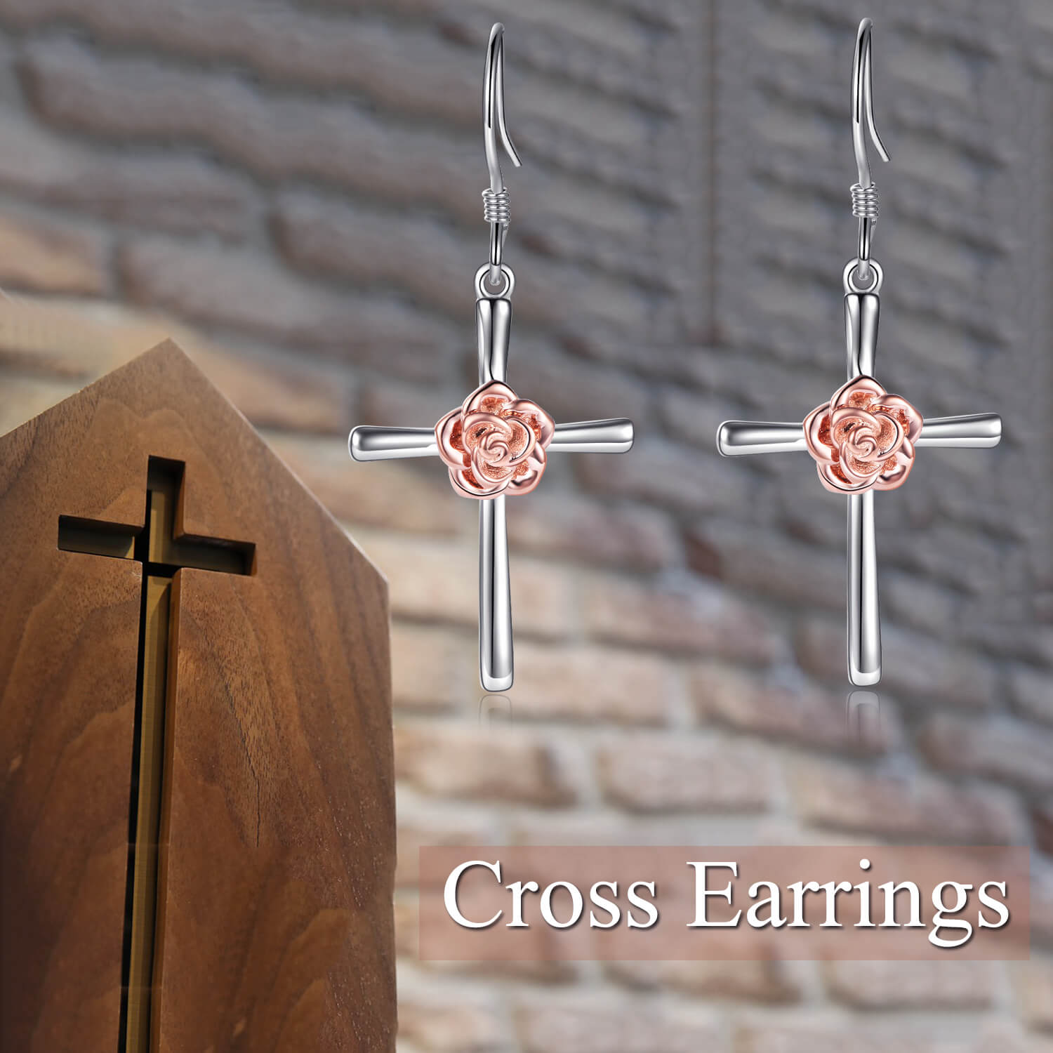 925 Sterling Silver Flower Cross Earrings - onlyone