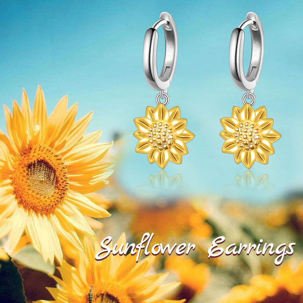 925 Sterling Silver Sunflower Earrings