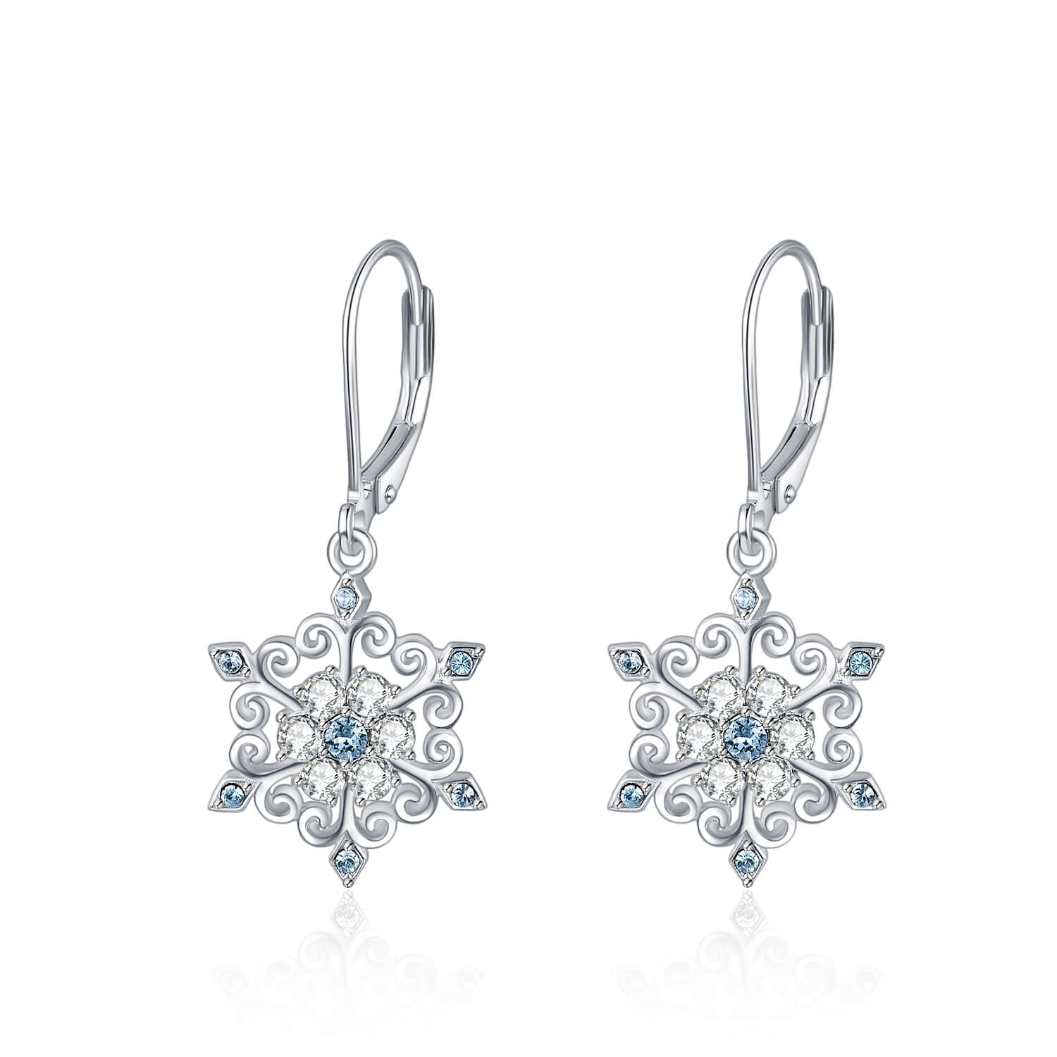925 Sterling Silver Snowflake Leverback Earrings With Swarovski Crystal
