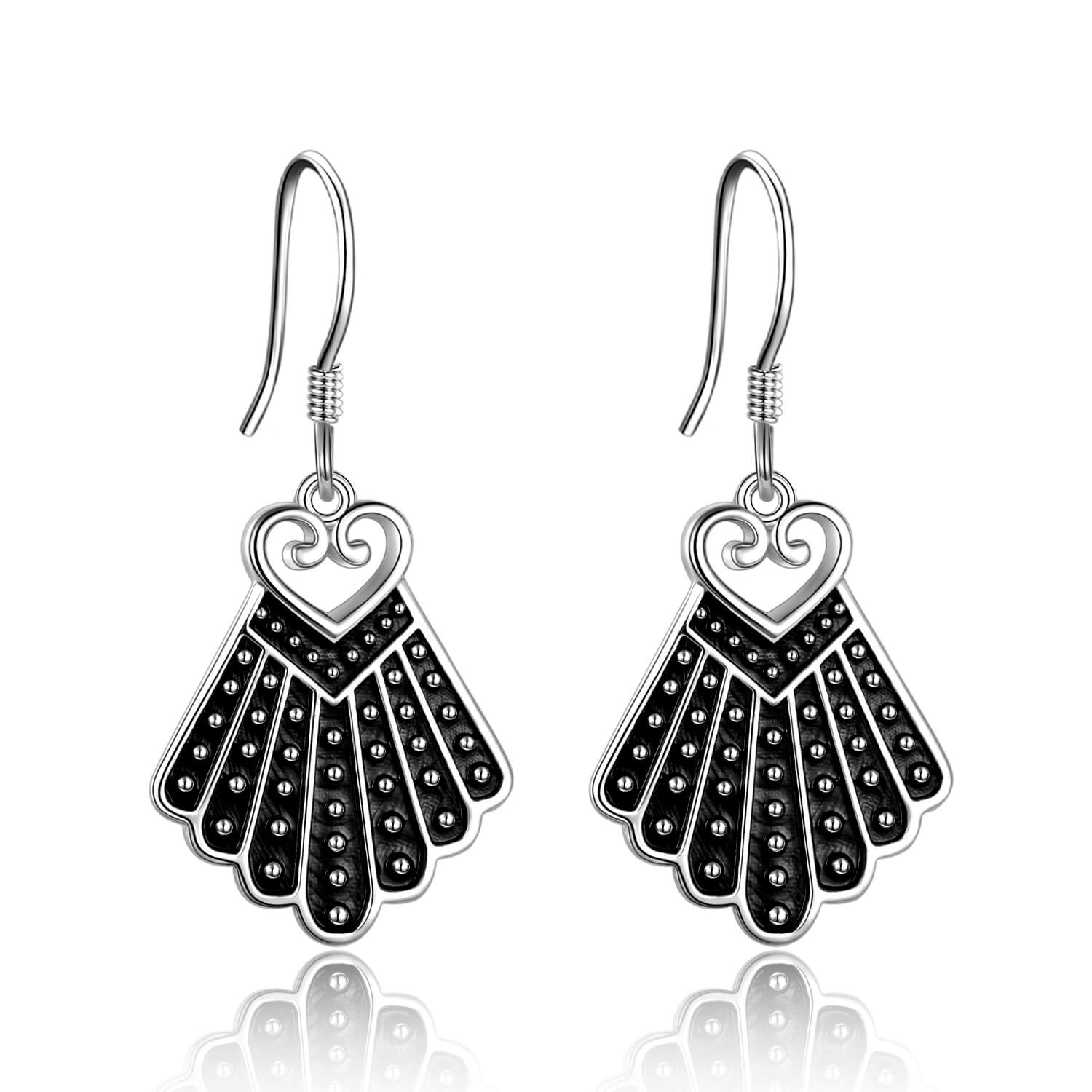 925 Sterling Silver Heart Dissent Collar Earrings