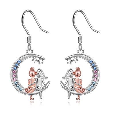 925 Sterling Silver  BFF Dangle Sister Earrings