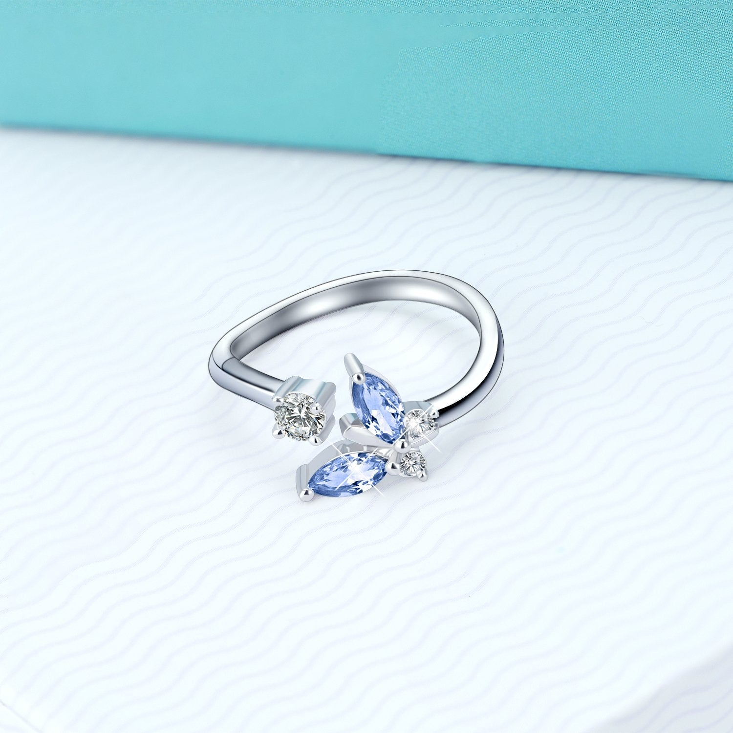 925 Sterling Silver Butterfly Blue Crystal Ring - onlyone