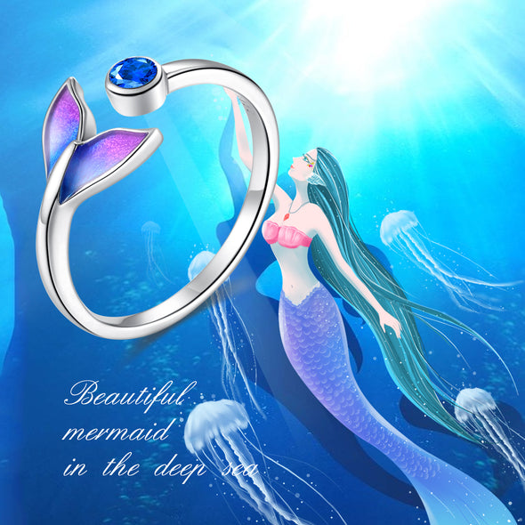 925 Sterling Silver Mermaid Fishtail Adjustable Ring - onlyone