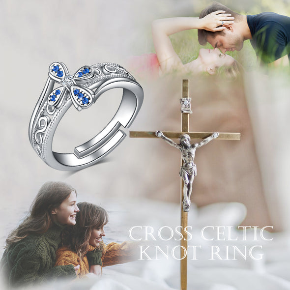 925 Sterling Silver Blue Zirconia Flower Cross Ring Band Ring Vintage Bohemian Celtic Knot Ring - onlyone