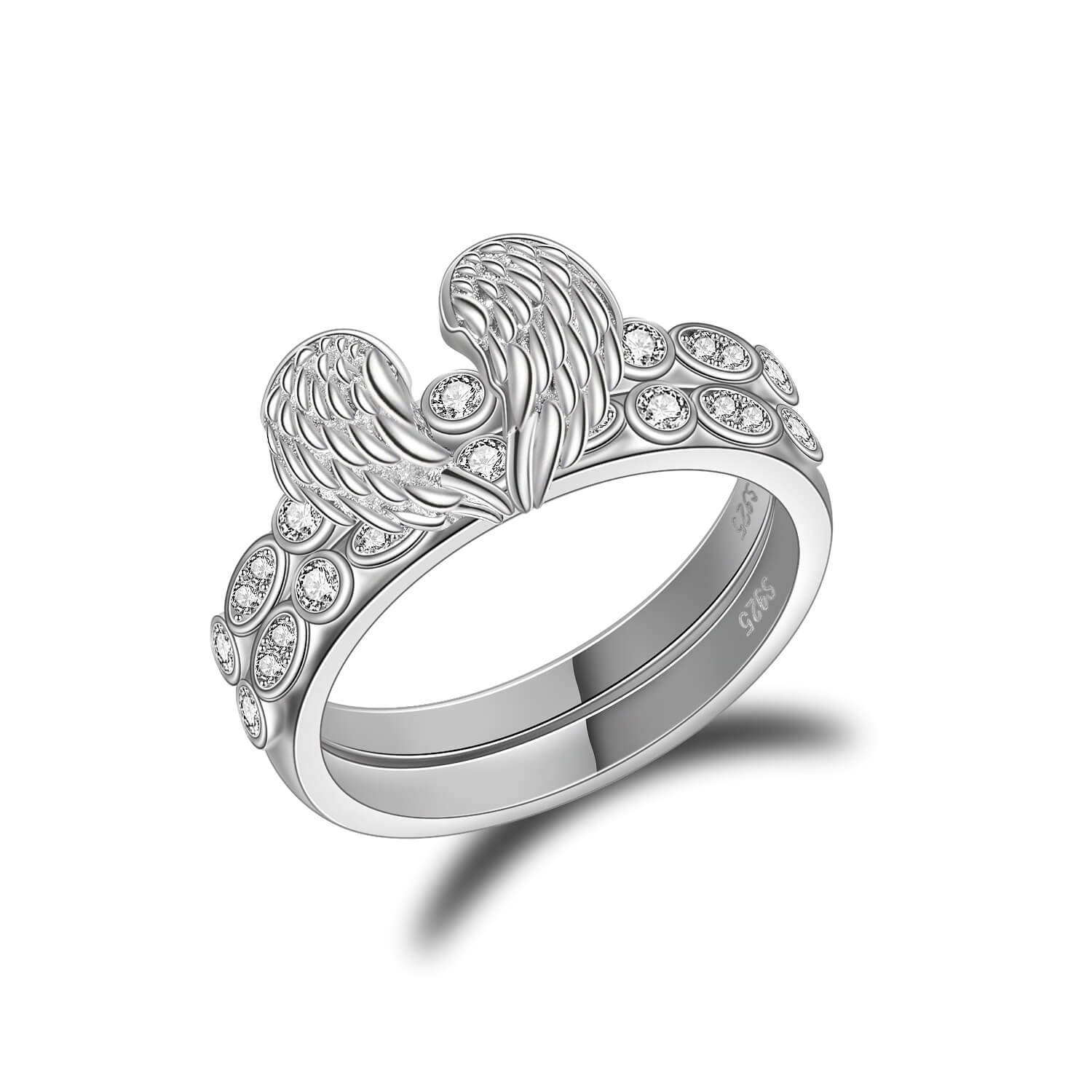 925 Sterling Silver Guardian Angel Wings Ring, Separable Ring Set