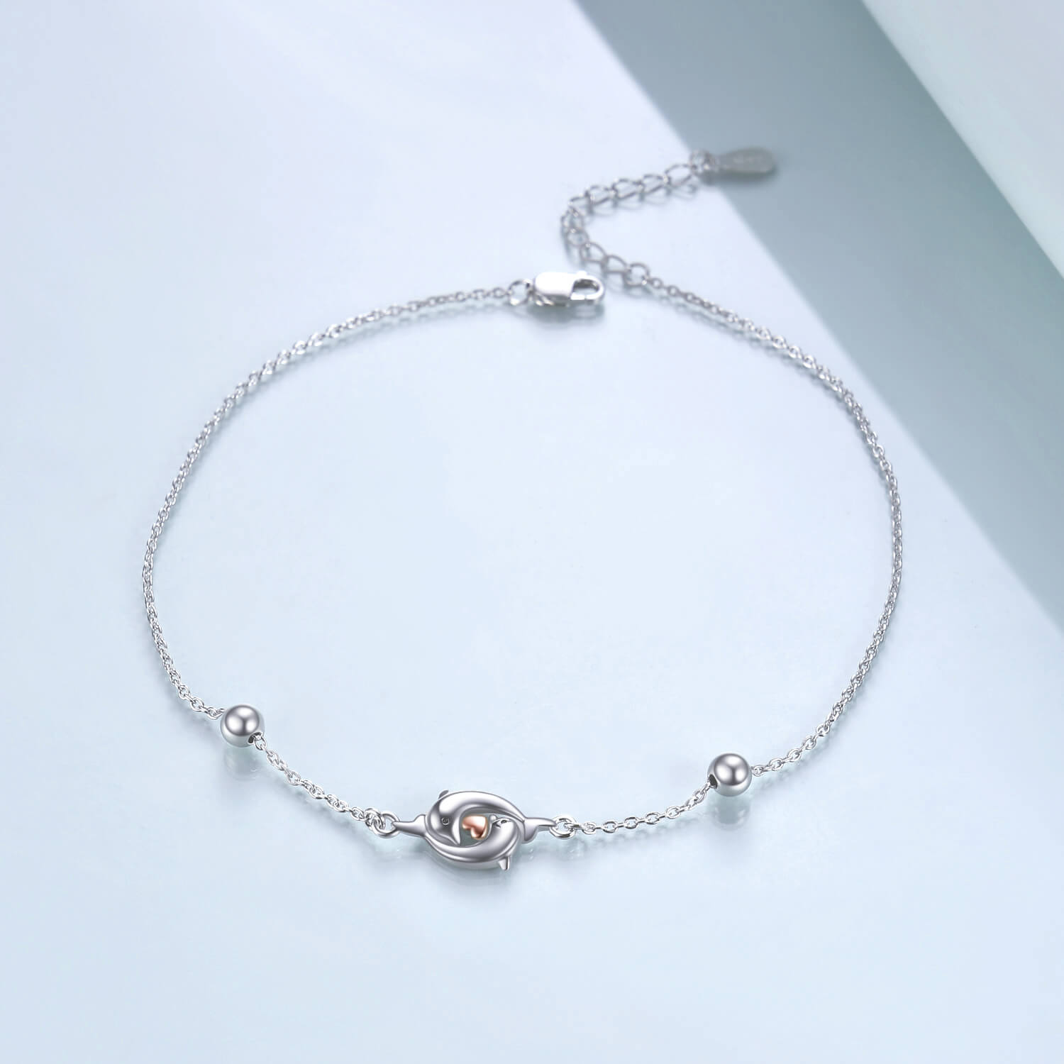 925 Sterling Silver Double Dolphin Anklets Bracelet for Women - onlyone