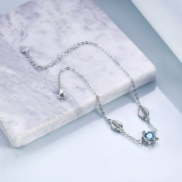 925 Sterling Silver Turtle And Mother Of Pearl Anklet - onlyone