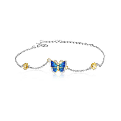 925 Sterling Silver Butterfly and Daisy Anklet - onlyone