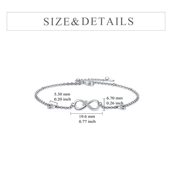 925 Sterling Silver Infinity Cross Anklet - onlyone