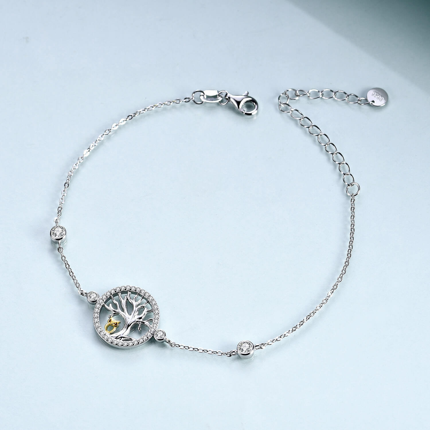 925 Sterling Silver Owl And Tree Of Life Bracelet - onlyone