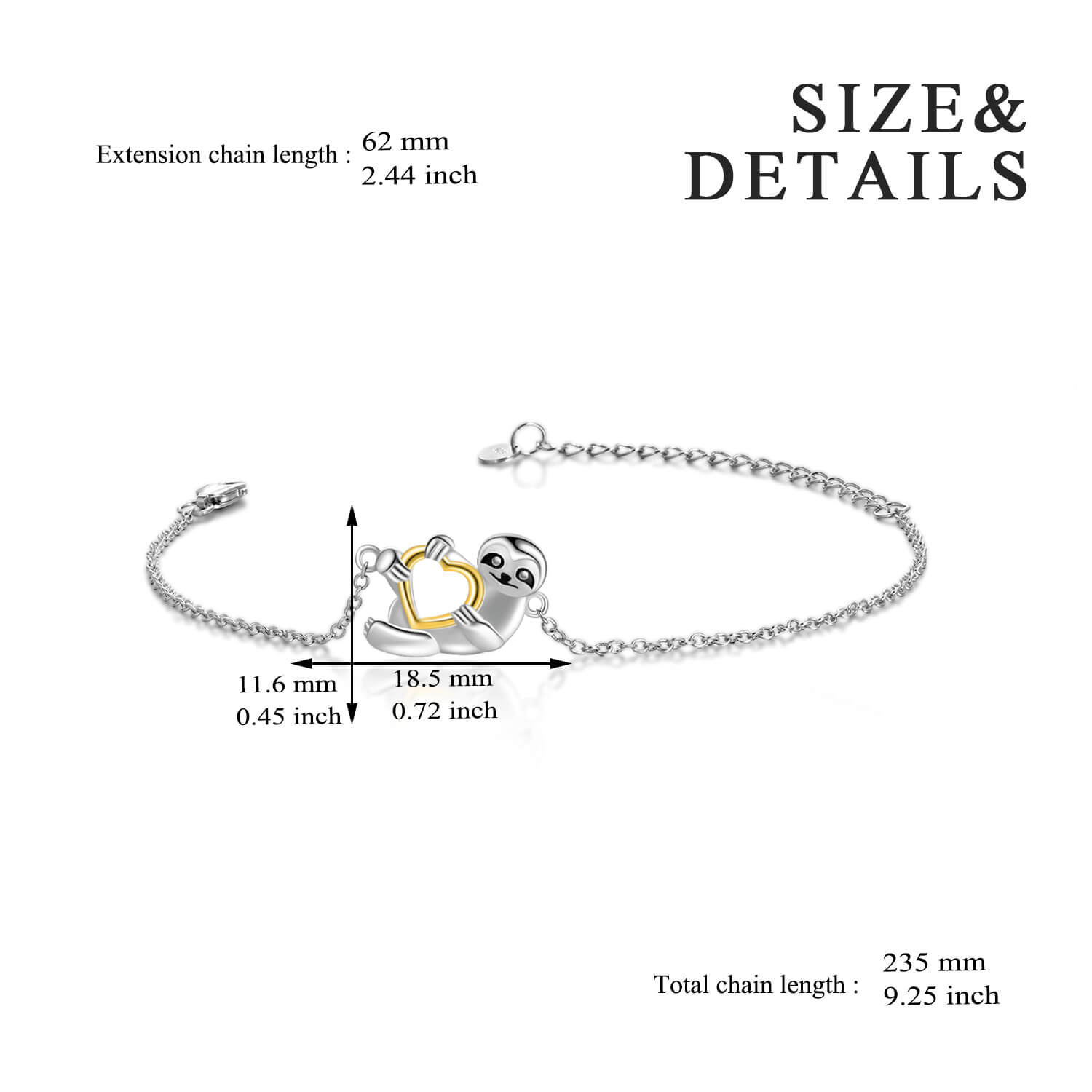 925 Sterling Silver Sloth And Heart Bracelet - onlyone