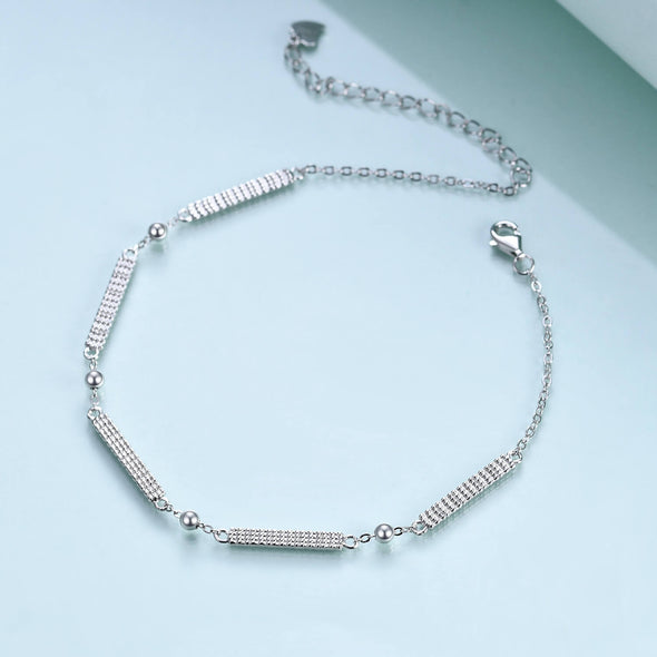 925 Sterling Silver Simple Bar and Ball Bracelet - onlyone