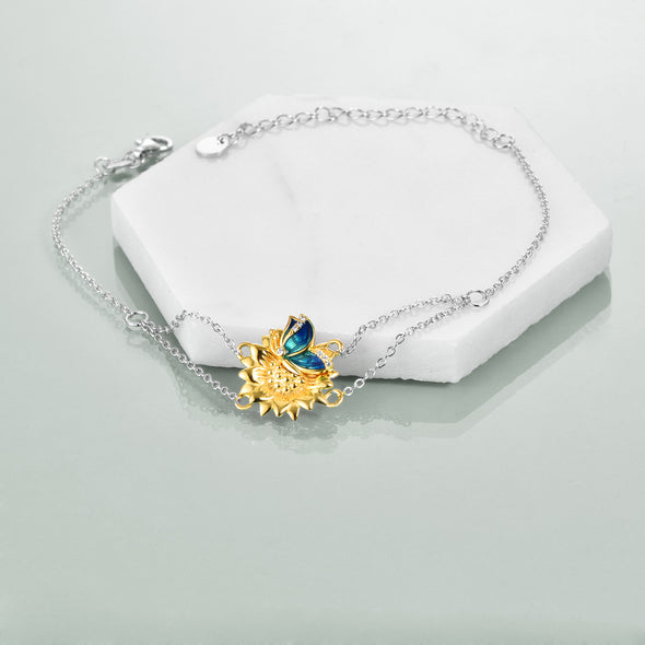 925 Sterling Silver Butterfly And Daisy Bracelet - onlyone