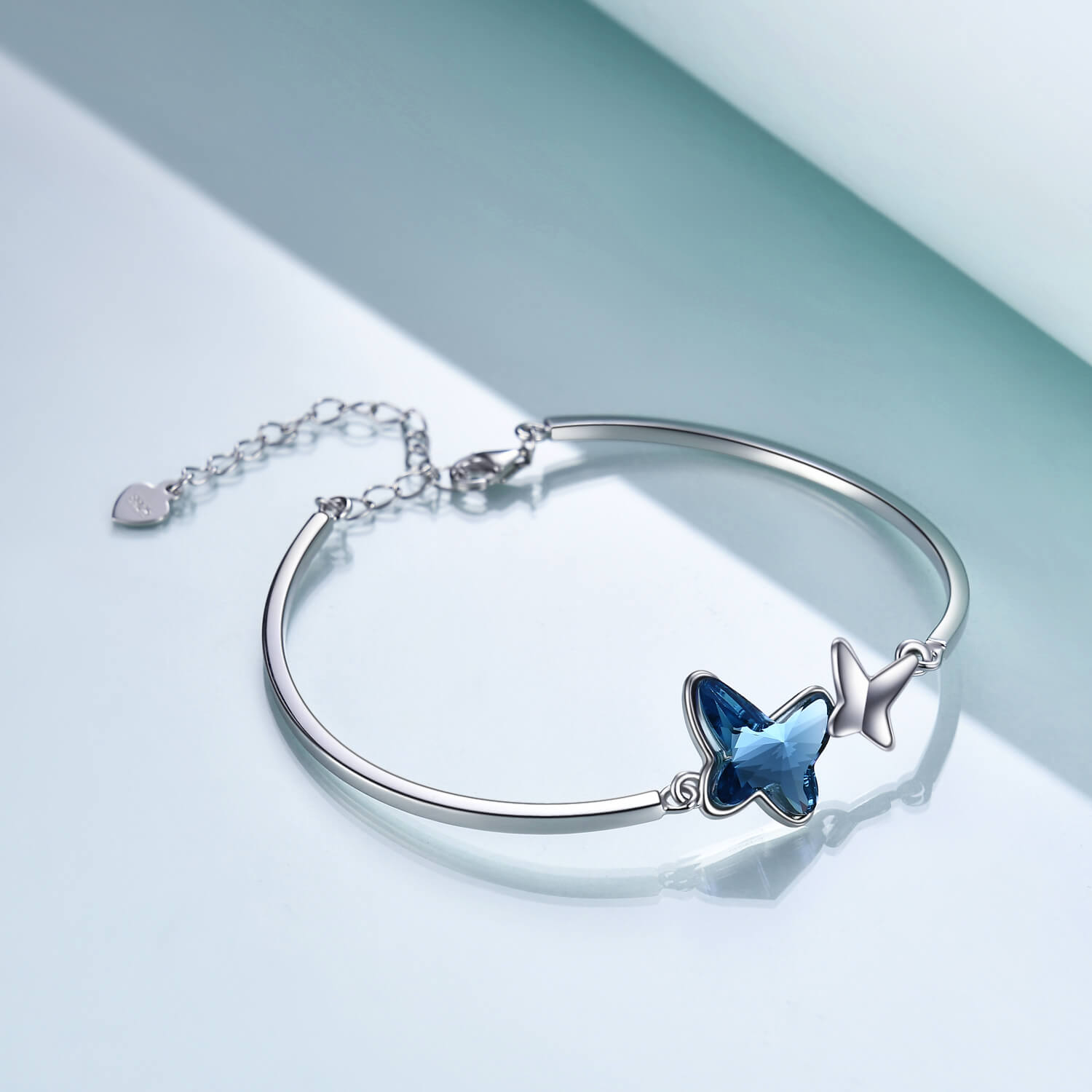 925 Sterling Silver Blue Butterfly Swarovski Crystal Bangle Bracelet Birthday Gift for Women Girls - onlyone