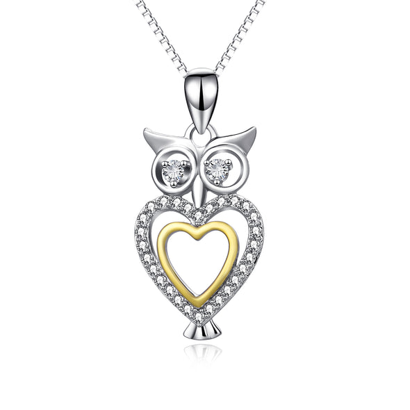 925 Sterling Silver Cute Halloween Heart Owl Necklace With White Zircon - onlyone