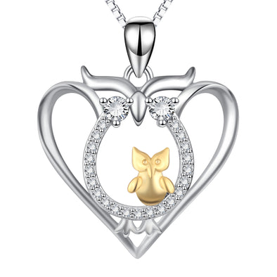 925 Sterling Silver Halloween Heart Owl Mom & Baby Necklace With White Zircon - onlyone