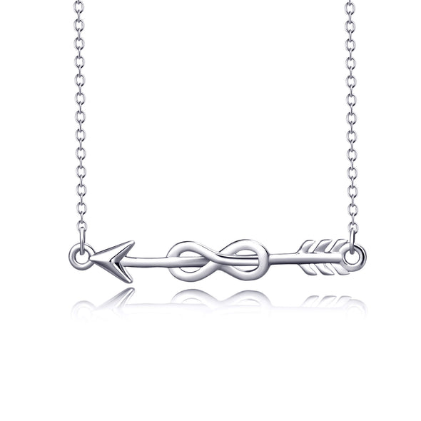 925 Sterling Silver Arrow Infinity Necklace - onlyone