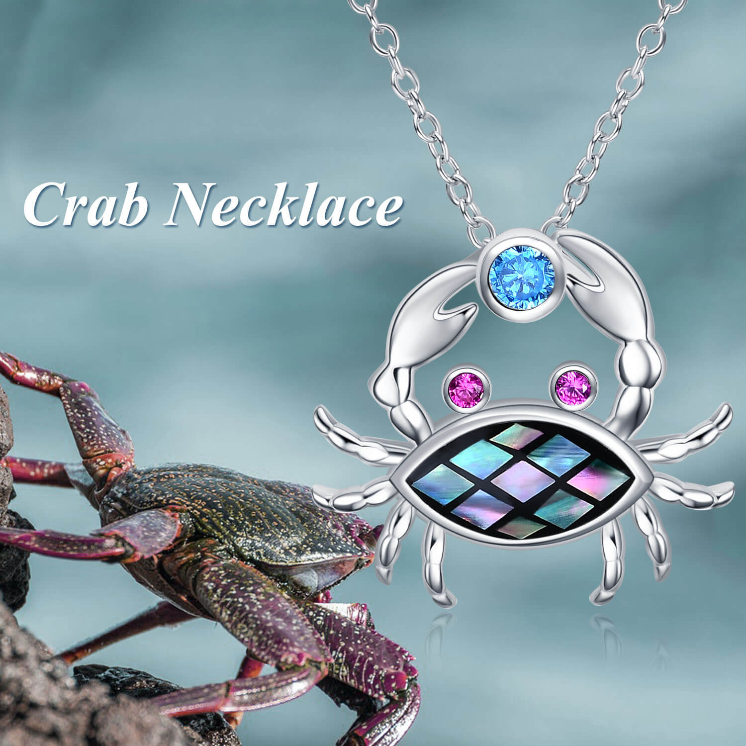 925 Sterling Silver Small Crab Necklace Abalone Shell Sea Jewelry - onlyone
