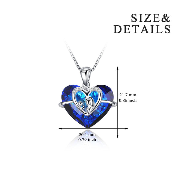 925 Sterling Silver Swarovski Crystals Heart Pendant Necklace Gift For Mom - onlyone