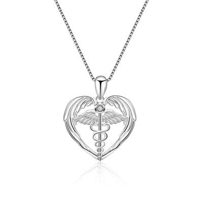 925 Sterling Silver Caduceus Angel Nursing Themed Pendant Necklace - onlyone