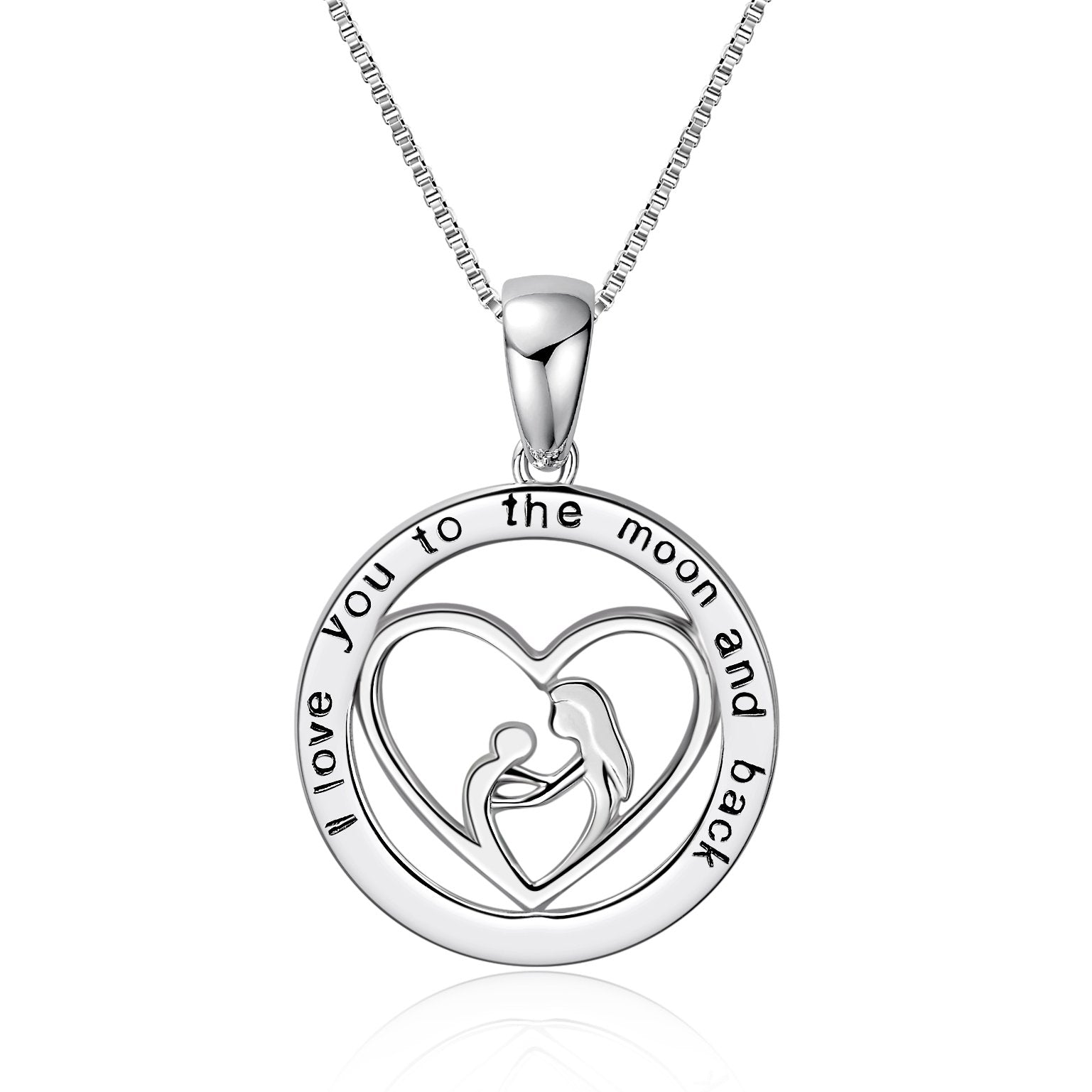 925 Sterling Silver Women Heart Pendant Necklace, Gift For Mom, I Love You To The Moon And Back - onlyone