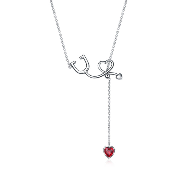 925 Sterling Silver Stethoscope Necklace Y Lariat Necklace for Nurse - onlyone
