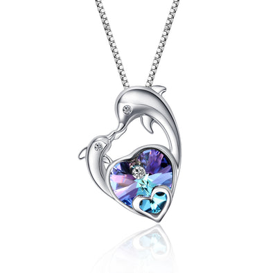 925 Sterling Silver Crystal Heart-Dolphin Necklace - onlyone
