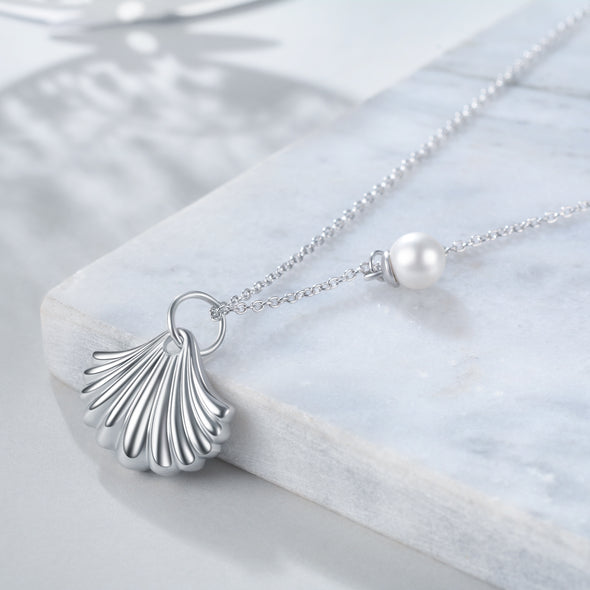 925 Sterling Silver Shell And Pearl Necklace - onlyone