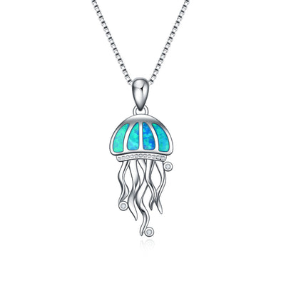 925 Sterling Silver Opal Jellyfish Necklace - onlyone