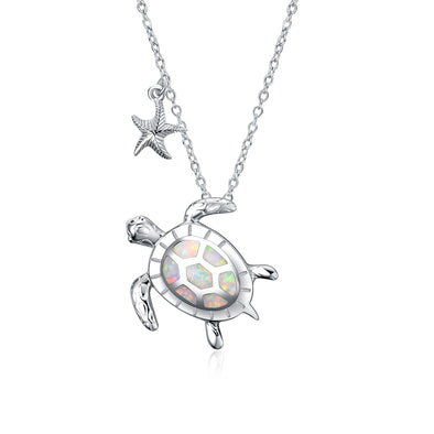 925 Sterling Silver Opal Turtle And Starfish Necklace - onlyone