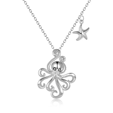925 Sterling Silver Octopus And Starfish Necklace - onlyone