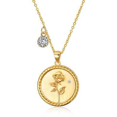 925 Sterling Silver Rose Coin Pendant Necklace With Cubic Zircon - onlyone