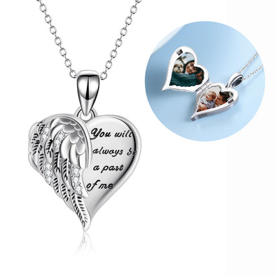 925 Sterling Silver Angel Wing Heart Photo Locket Necklace Promise Necklace for Women, You Will Always Be a Part Of Me