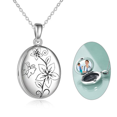 925 sterling silver flower butterfly carving photo necklaces - onlyone