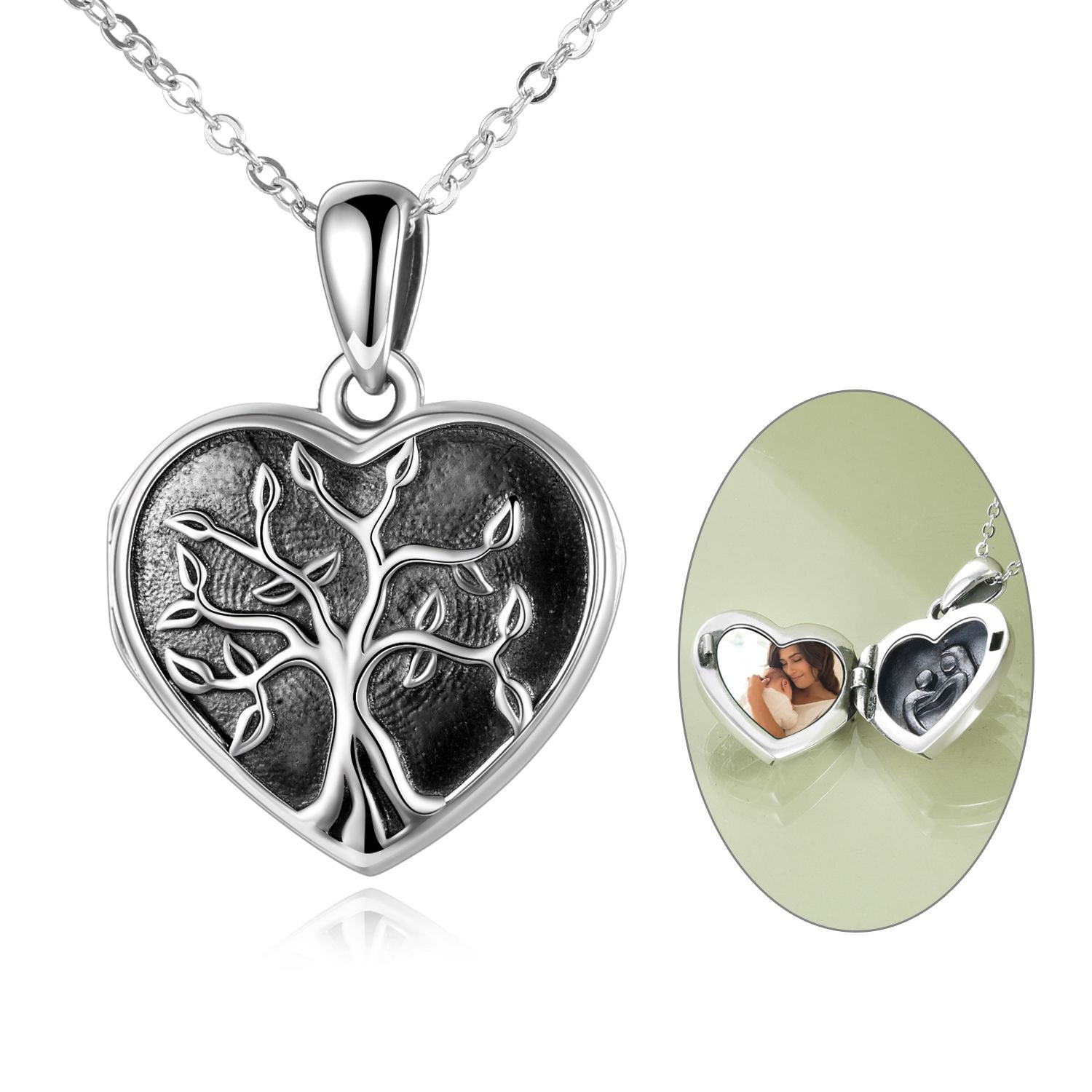 925 Sterling Silver Heart Tree Photo Locket Necklaces - onlyone