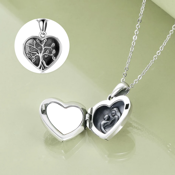 925 Sterling Silver Heart Tree Photo Locket Necklaces