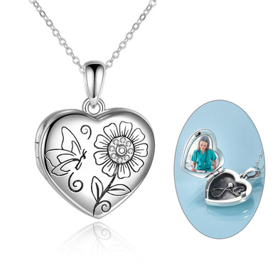 925 Sterling Silver Heart Flowers And Butterfly Photo Locket Necklace - onlyone