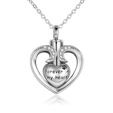 925 Sterling Silver Heart Memorial Urn Necklace, Forever In My Heart Cremation Necklace - onlyone