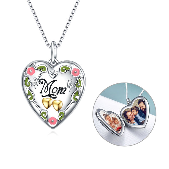 925 Sterling Silver Mother's Love  Heart Photo Locket Necklaces - onlyone