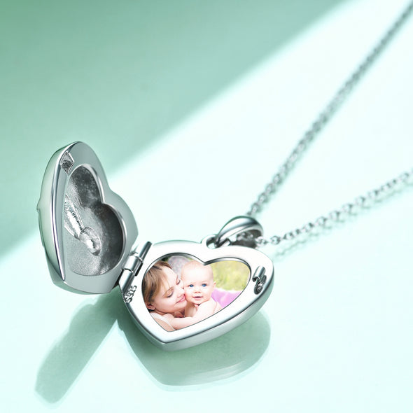 925 Sterling Silver Heart Sloth Photo Locket Necklaces - onlyone