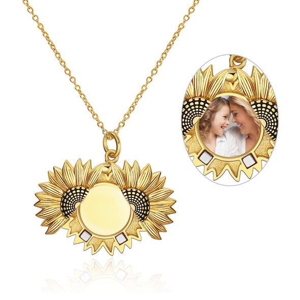 925 Sterling Silver Gold Sunflower Open Locket Photo Pendant Necklace - onlyone
